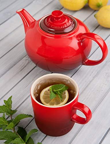 Le Creuset Steinzeug Klassische Teekanne 1,3 L, kirschrot - 4