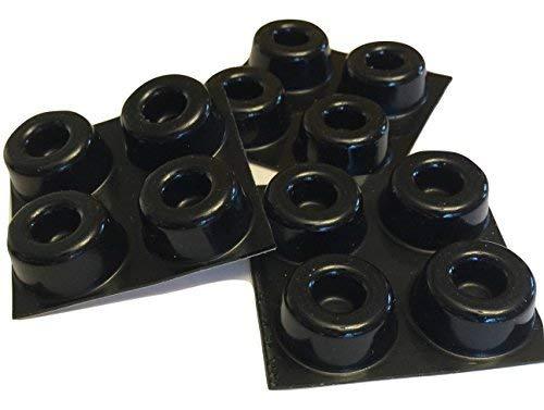 GorillaGrit Kleine Schwarze Türknopfpuffer (12-er Set) Selbstklebende Türstopper Wandschutz, Isolationsgummifüße für Lautsprecher, Elektronik, Möbel