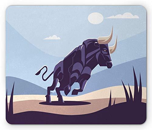 Tiermausunterlage, Gekritzel-Illustration der starken Stier-wilden Natur, rutschfeste Gummimausunterlage des Rechteck-Standardgrößen-nicht, purpurrote blaue dunkelviolette graue Champagne-Mandel,Gummi