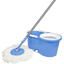 CAZA Easy Clean Spin Steel Jali Bucket Mop-Plastic Handle-Mop Head-Microfiber Refill-soap Dispenser-Water Outlet