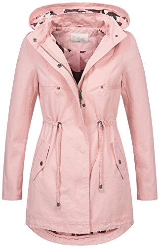Leichte Damen Jacke Übergangsjacke mit Kapuze Mantel Parka Baumwolle S-XL B495...