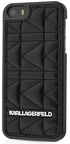 Karl Lagerfeld Kuilted-Cover rigida per iPhone 5/5S, colore: nero