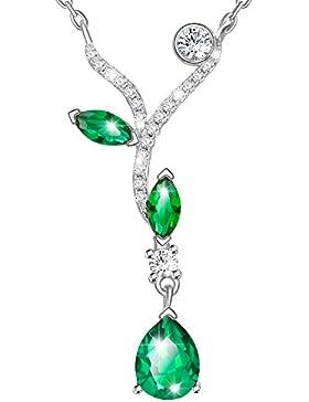 Dawanza - Weihnachtsgeschenke Halskette Damen Weiß Vergoldet - Kristall Grün mit Tropfen Anhänger - Modeschmuck...