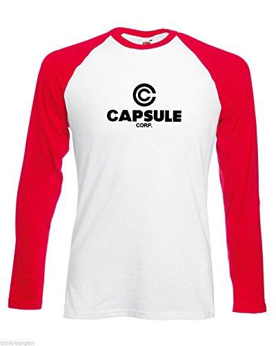 Capsule Corp Herren Tshirt Gesellschaft Lange Hülse Baseball Weiß Rot Arme