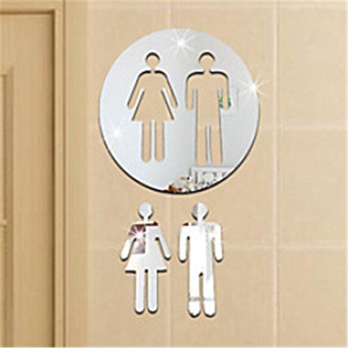 Huer WC Wandsticker Wandspiegel Wandbild Badezimmer Toilette Wand Dekoration Schild Silber