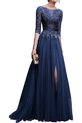 MisShow Hochwertig Damen lang Abendkleid Partykleider CocktailKleid Spitzenkleid Tuell 3/4 Arm Gr.38