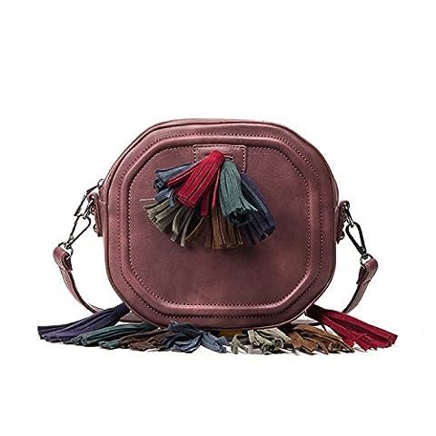 Femmes Frangées Ronde Sac Casual épaule Oblique Dames Sac à Main Tassel,Purple-AllCode