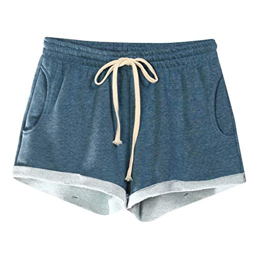 Damen Schlafanzughose Pyjamahose Kurz Baumwolle Gestreift Shorty Nachtwäsche Sleep Hose Pants -