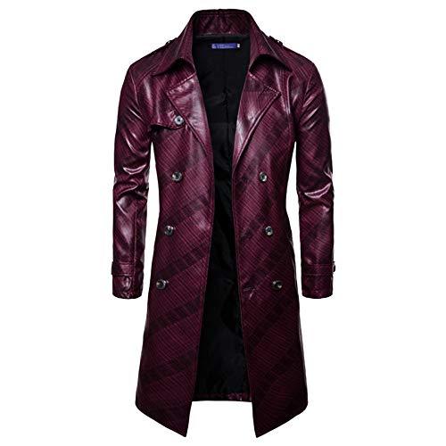 MERRYHE Herrenmode PU-Leder-Anzug Lange Trenchcoat Zweireiher Jacken Vintage Mantel Langarm Oberbekleidung,Red-XL/Bust122cm -