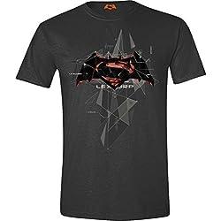Batman v Superman Cubic Logo Camiseta Antracita S