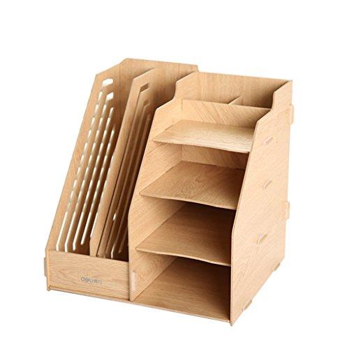 JIN PING Beautiful Homes® Soporte de libros de madera, estante de almacenamiento de datos de marco de almacenamiento de escritorio de oficina Diseño de múltiples funcionalidades de almacenamiento práctico de varios pisos duradero