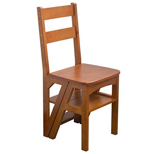 GYX-Klappstufen Multifunktion Haushalt Leiter Stuhl Falten 4 Schritte Stehhilfen Küche Dual-Use Treppenstuhl Beweglich Leitern Aufsteigender Stuhl (Farbe: Nussbaum hell) - Esszimmer Nussbaum Barhocker