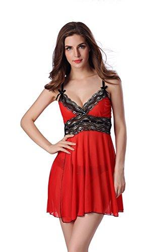 Aidonger Damen Schleife Gaze-Sling transparent Rüschen Nachtkleid mit Höschen, Gr. S-2XL, weitere Farbe �?Rot05