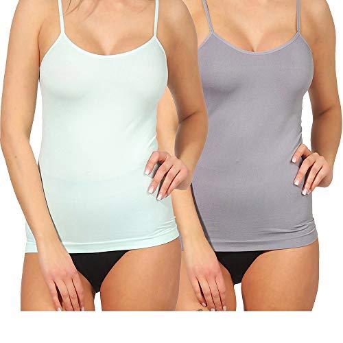 2er Set Shapewear Damen Shirt Form-Unterhemd Bauchweg- Hemd Mieder Unterwäsche 148 (L/XL, Mint/Grau Spagh.)