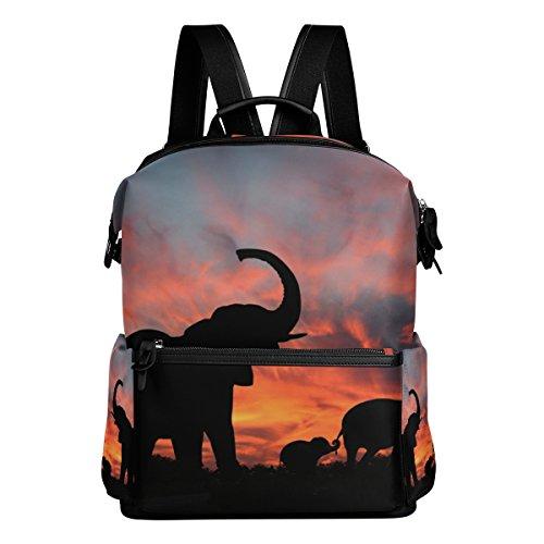 COOSUN Los elefantes disfrutan de espectaculares Sunset School Mochila mochila de viaje...