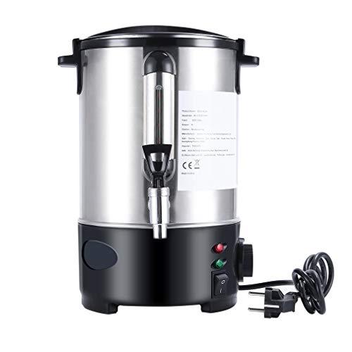 Heißwasserspender und Glühweinautomat, Edelstahlgehäuse, 6 L, Füllstandsanzeige, massiver Metall-Zapfhahn, 1000 Watt, inox