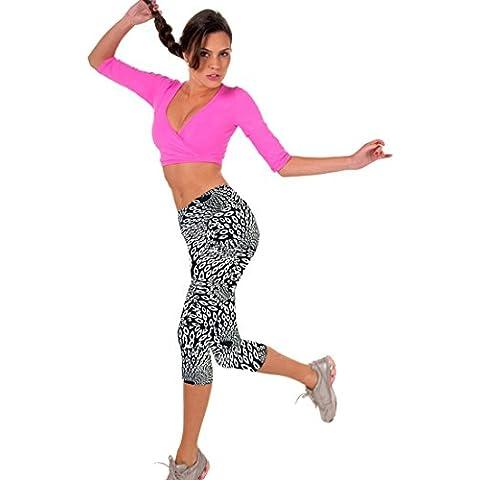Donne Yoga Leggings Ritagliate, Ularma Alto Vita Idoneità Elastico Fiore Stampato Pantaloni (Nero, S)