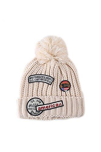 Toison d'hiver doublé câble Pom Pom Beanie bonneterie Beige