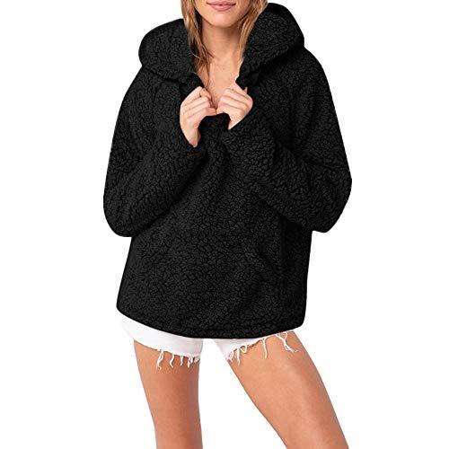 TWBB Damen Kapuzenpullover Frauen Klassische Mode Kapuzenpulli Mantel Winter Warmer Wolle-Reißverschluss-Taschen Baumwollmantel Outwear