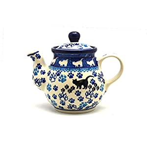 Polish Pottery Gooseneck Teapot – 10 oz. – Boo Boo Kitty