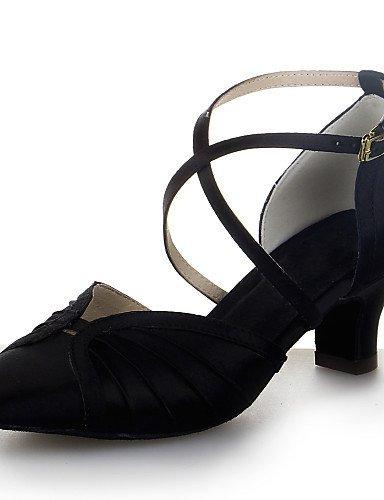ShangYi Chaussures de danse (Noir/Marron/Rouge/Argent) - Non personnalisable - Gros talon - Satin - Moderne Black