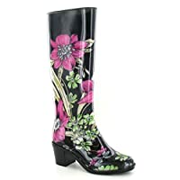 Spot On Womens/Ladies Flower Print Heeled Wellington Boots