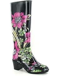 Spot On - Botas de agua Wellignton con tacón y estampado floral para mujer