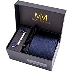 Massi Morino ® Hombre Designer corbata – caja conjunto con pañuelo, gemelos y aguja de corbata, ropa y accesorios de hombre (Paisley azul oscuro)