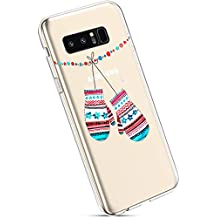 YSIMEE Fundas Samsung Galaxy Note 8 Carcasas,Xmas Decoración Fundas Transparente Silicona Suave Ultra Fina Delgado Gel Bumper TPU Goma Protectora Carcasas-Guantes de navidad