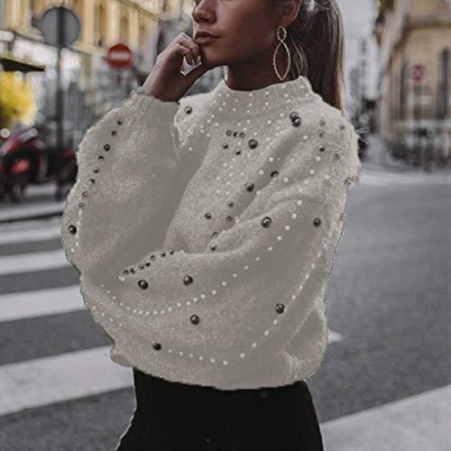GOKOMO Frauen Casual Sweater Thick Needle Langarm-Pullover mit O-Ausschnitt(Weiß,Large)