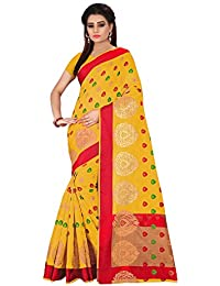 Royal Export Women's Cotton Silk Saree With Blouse Piece (Templ Yellow_Yellow)
