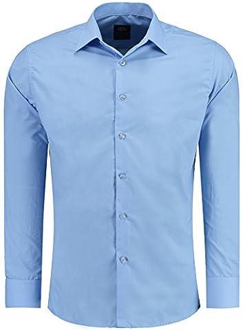 JEEL Combinaison à Manches Longues Chemise Basic Business Loisirs Mariage Slim-Fit, 205 - Bleu 2X-Large