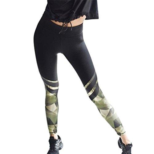 Yogahosen Für Damen Schwarz Mumuj Camouflage Spleiß Yogaschlauch Workout Gym Leggings Fitness Sporthose Bundhose Bodycontrollee Dünne Cropped Hosen (Schwarz, XL)