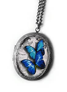 Butterfly Locket Necklace - Antique Silver Photo Locket
