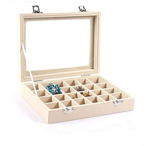 Caja de cristal Jewelry Display de terciopelo, almacenamiento organiza