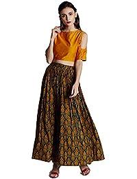 Jaipur Kurti Women's Chanderi Crop Top With Multicoloured Muslin Skirt (Yellow)