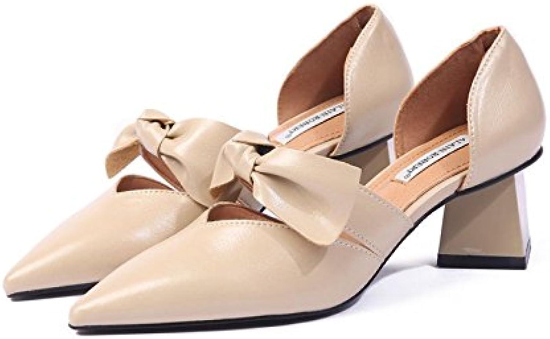 SFSYDDY scarpa da donna Spring Fashion Hollow Bow Shallow bocca a punta scarpe da donna comode Rough tacco 6 cm... | Lasciare Che I Nostri Beni Vanno Al Mondo  | Gentiluomo/Signora Scarpa