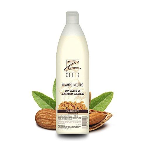Champú Neutro Profesional con Aceite de Almendras Amargas - 1 Litro - Uso Diario - Proporciona Brillo y Nutrición - Ideal para cabello fino y frágil - Zelos