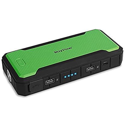 RoyPow Arrancador de Salto de 12000 mAh de hasta 4.0L y 400A Cargador de Batería Externo Portátil & Power Bank, Ultraseguro, Garantía de 18 Meses (green)