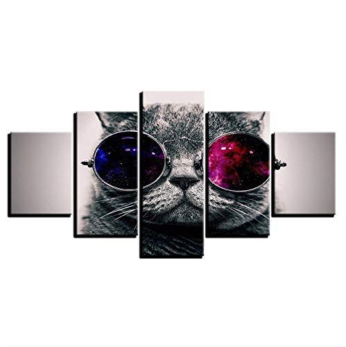 PANDABOOM 5 Stück Kunstwerk Hd Gestreckt Und Gerahmte, 5 Teile Upgrade Leinwanddrucke Gemälde Wandkunst, Geeignet Wohnzimmer Schlafzimmer, Süße Sonnenbrille Katze, 80X150Cm