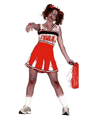 Kostüm Groupie Halloween - Horror-Shop Blutiges Zombie Cheerleader Halloween Kostüm für Damen M