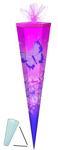 Schultüte - Schmetterlinge - 50 cm rund - mit / ohne Kunststoff Spitze - Tüllabschluß - Zuckertüte - für Mädchen Schmetterling rosa pink Blumen geblümt