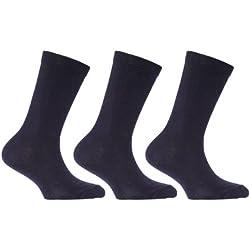 Calcetines de algodón lisos de uniforme escolar para niños (pack de 3) (Eur 27-30 (5-7 años)/Azul marino)