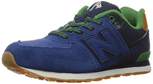 NEW BALANCE - Scarpa ginnica 574 stringata blu e verde, in camoscio e tessuto, logo (Balance Runner)