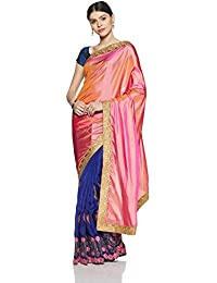 Womanista Women's Art Silk Sari With Blouse Piece(FS9407_Pink And Navy Blue_Free Size)
