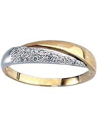 Sortija diamante puntas brillantes oro 18k bicolor cruzada [5936]