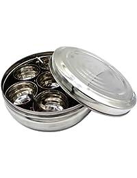 Caja de especias de acero inoxidable con tapa de acero y 7 contenedores y 1 cuchara
