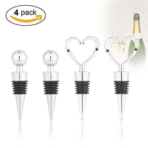 Weinverschluss,LANMU Flaschenverschluss Wein,Vintage Wein Stopper in Herz Kugel Form für Rotwein/Champagner/Bier(4 Pack)