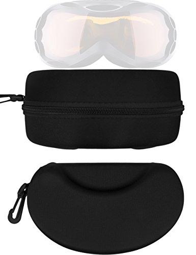 HOMETOOLS.EU® - Ski Brillen Hard-Case | Tasche, Etui mit Carabiner, Reißverschluss | Aufbewahrung und Transport, universell | 20 x 12 x 10 cm, schwarz