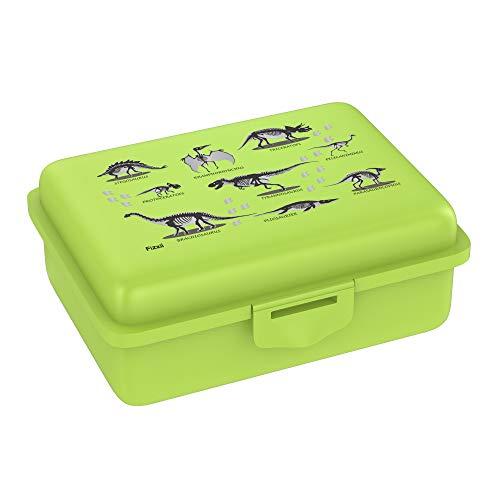 Fizzii Lunchbox (Inkl. Obst-/ Gemüsefach, schadstofffrei, spülmaschinenfest, Motiv: Dino Lime)